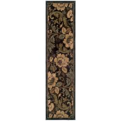 Indoor Brown Floral Rug - 1'10 x 7'6