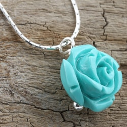 Sterling Silver Forever a Turquoise Rose Necklace (Israel) - Thumbnail 2