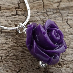Sterling Silver Forever a Purple Rose Necklace (Israel) - Thumbnail 2