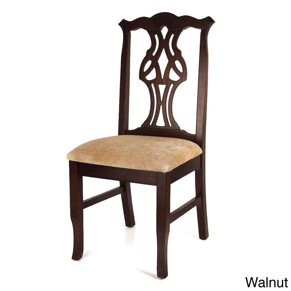 Chippendale Dining Chair (Walnut), Brown (Microfiber)