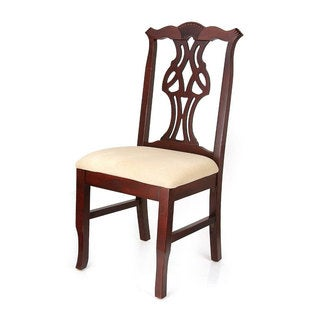 Chippendale Cream Upholstery and Mahogany Finish Beechwood Dining Chair