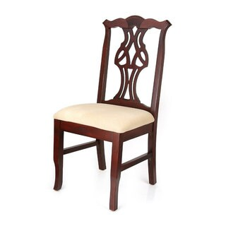 Copper Grove Bitterroot Cream Upholstery and Mahogany Finish Beechwood Dining Chair