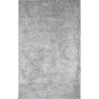 Handmade Blue Wool Shag Rug (5' x 8')