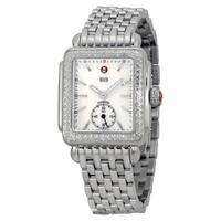 Michele Women's  'Deco 16' Diamond Silver Stainless Steel Watch