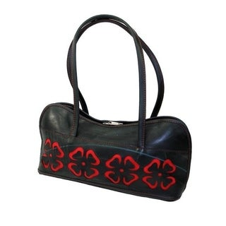 Handmade Recycled Tires Cut-out Flower Shoulder Bag (India)