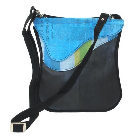 Handmade Recycled Plastic and Tires Breeda Wave Messenger Bag (India)