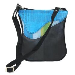 Handmade Recycled Plastic and Tires Breeda Wave Messenger Bag (India) - Thumbnail 1