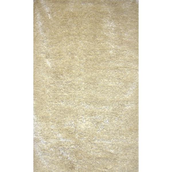 Handmade White Shag Wool Rug - 8' x 10'