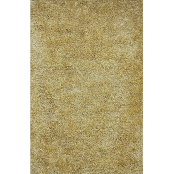 Handmade Yellow Shag Wool Rug - 8' x 10'