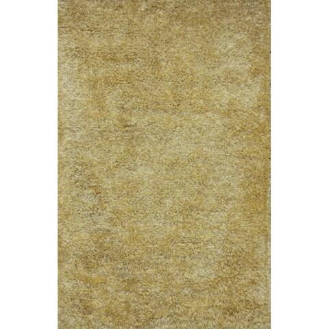 Handmade Yellow Shag Wool Rug - 8' x 10'