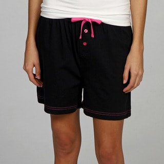 Leisureland Women's Knit Black Boxer Shorts