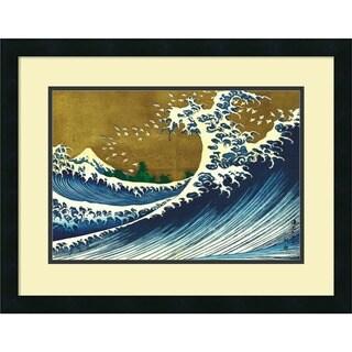 Framed Art Print 'Big Wave (from 100 views of Mt. Fuji)' by Katsushika Hokusai 25 x 19-inch