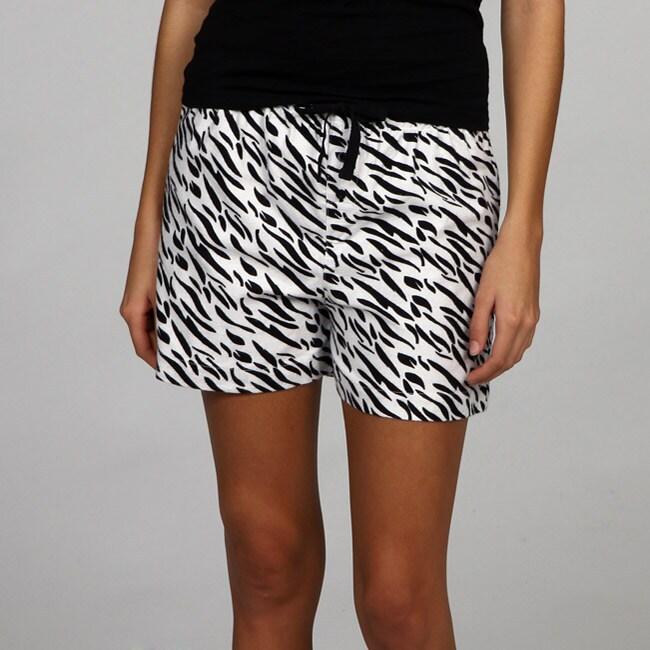 Leisureland Women's Zebra Flannel Boxer Shorts