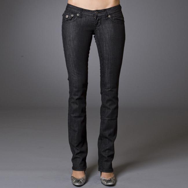 Women's 'Emerald Beach' Black Straight Leg Jeans
