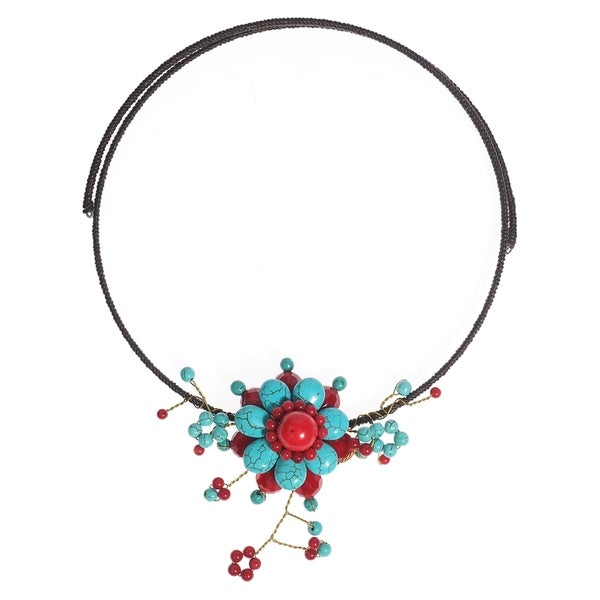 Stylish Synthetic Coral Turquoise Flower Choker Necklace (Thailand)