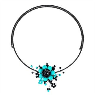Handmade Cotton Rope Floral Ray Turquoise/ Black Onyx Choker (Thailand)