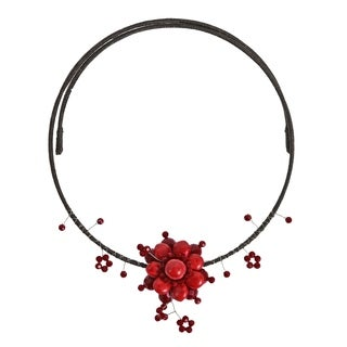 Handmade Stylish Synthetic Coral Flower Red Choker Necklace (Thailand)