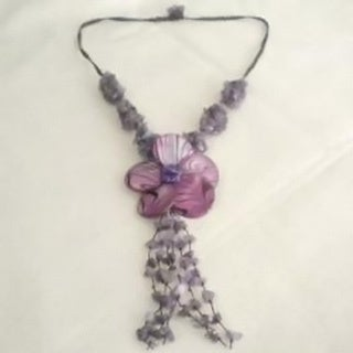 Handmade Cotton Purple Shell Flower and Amethyst Tassel Drop Necklace (Thailand)