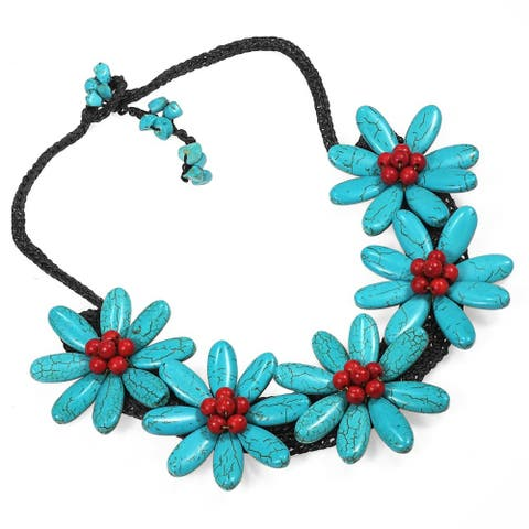 Handmade Five Turquoise Flowers with Synthetic Coral Center Stone Necklace (Thailand)