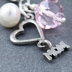 Fashion Forward Silver 'Mom' Pearl Charms (4-9 mm) (Set of 2) - Thumbnail 2