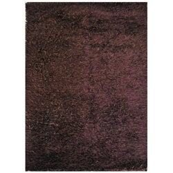 Handmade Brown Shag Wool Rug - 8' x 10'