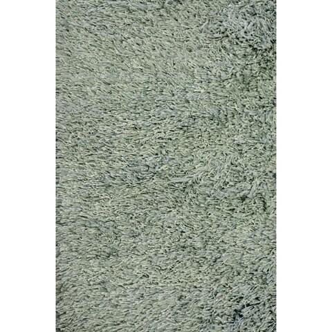 Handmade Blue Shag Wool Rug - 8' x 10'