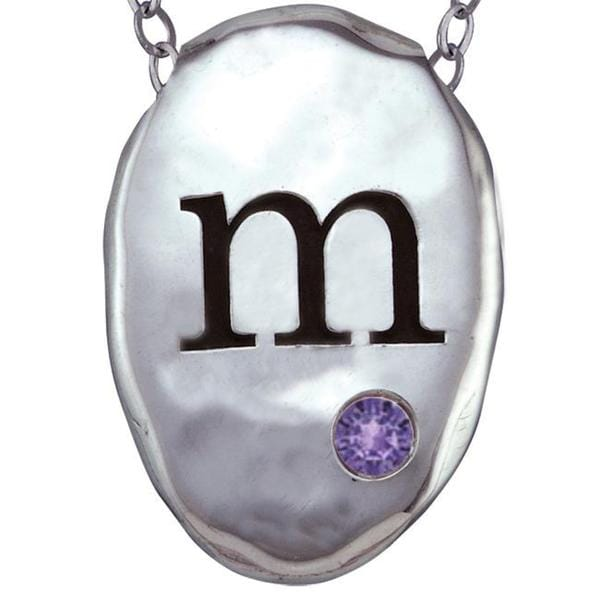 Chroma Sterling Silver Created Amethyst Birthstone Initial Necklace Made with SWAROVSKI GEMS. Opens flyout.