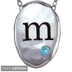 Chroma Silver Created Aquamarine Birthstone Initial Necklace Made with Swarovski Element GEMS