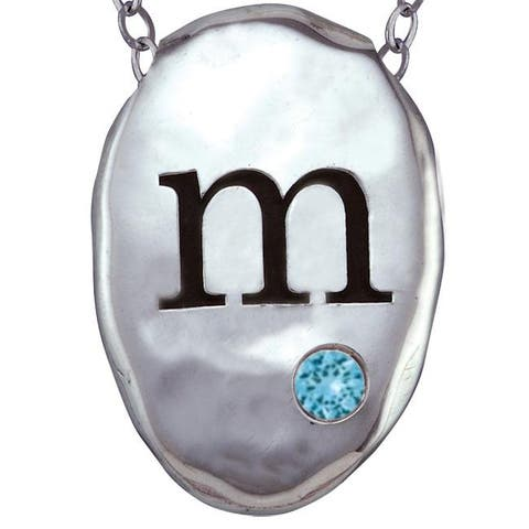 Chroma Silver Created Aquamarine Birthstone Initial Necklace Made with SWAROVSKI GEMS