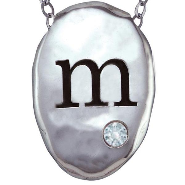 Chroma Silver Created CZ April Birthstone Initial Necklace Made with SWAROVSKI GEMS