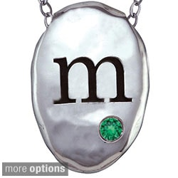 Chroma Sterling Silver Created Emerald Birthstone Initial Necklace Made with SWAROVSKI GEMS