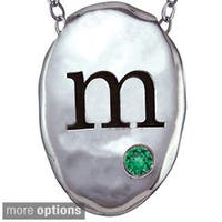 Chroma Sterling Silver Created Emerald Birthstone Initial Necklace Made with Swarovski Element GEMS