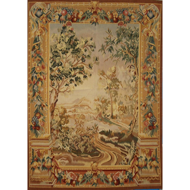 Hand-woven Aubusson Weave Wool Tapestry - Free Shipping ...