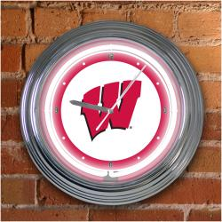 Wisconsin Badgers 15-inch Neon Clock - Thumbnail 1