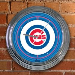 Chicago Cubs 15-inch Neon Clock - Thumbnail 2