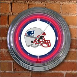 New England Patriots 15-inch Neon Clock - Thumbnail 1