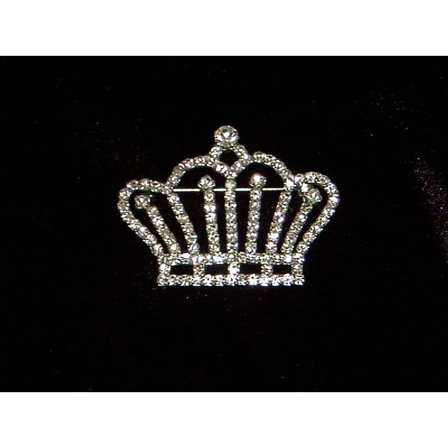 Silver Crystal Crown Pin