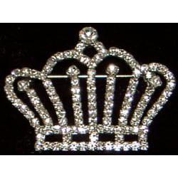 Silver Crystal Crown Pin - Thumbnail 1