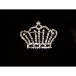 Silver Crystal Crown Pin