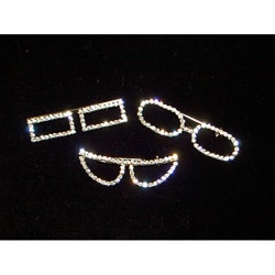 Silver Crystal Eyeglasses Pins (Set of 3)