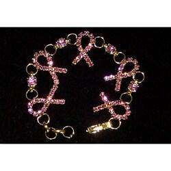 Silver Crystal Pink Ribbon Bracelet