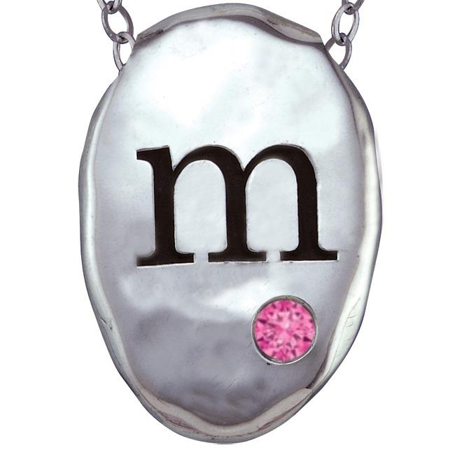 Chroma Sterling Silver Created October Birthstone Initial...