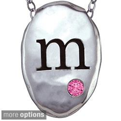 Chroma Sterling Silver Created October Birthstone Initial Necklace Made with SWAROVSKI GEMS