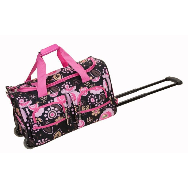 Rockland Deluxe 22-inch Flower Carry On Rolling Duffel Bag