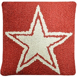 Red Star Hooked Wool Pillow
