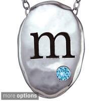 Chroma Silver Created Zircon December Birthstone Initial Necklace Made with SWAROVSKI GEMS