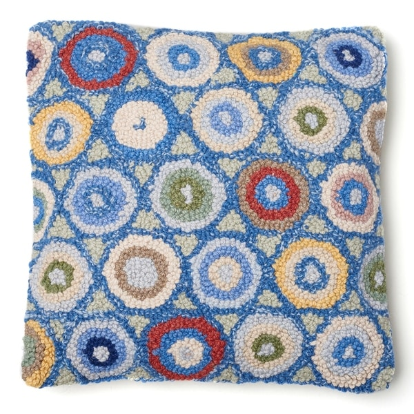 Blue Coin Hooked Wool Pillow. Opens flyout.