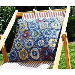 Blue Coin Hooked Wool Pillow