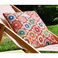 Red Coin Hooked Wool Pillow