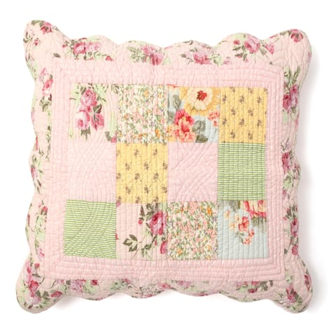 Cottage Home Sanderson Cotton Patchwork 17 Inch Throw Pillow